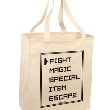 RPG Command Selection List Large Grocery Tote Bag by TooLoud