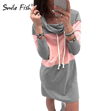 Plus Size Sweatshirts Dress Woman Turtleneck Winter Warm Mini Dresses Women Femme Autumn Spring Vestidos Hoodies Dress GV147