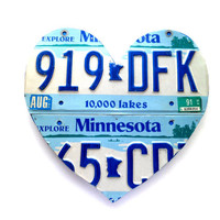Minnesota Heart,License Plate Sign,Blue Minnesota Art,Minnesota Love Sign,Rustic Wedding Decor,MN License Plate,Minnesota Native Decor