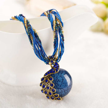 2017 New peacock decoration rough necklace short clavicle female chain turquoise stone pendant necklace style summer jewelry