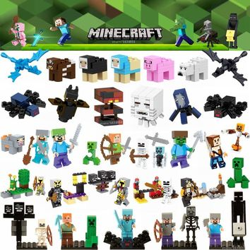 LEGOing Minecraft Figures Toy Alex Steve Ghast Dragon Zombie Bear Animals LEGOings Minecrafted Building Blocks Toys For Children