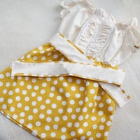 Yellow & White Vintage Inspired Peasant Dress - Polka Dot Anthropologie Peasant Dress - MADE to ORDER - EtsyKids Team