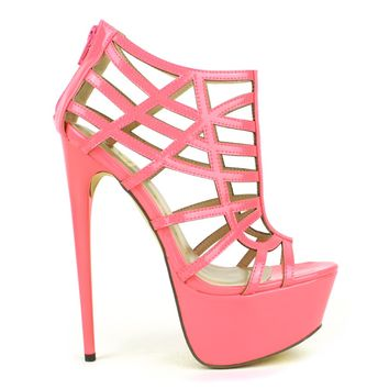 Fahrenheit Vicky-15 Cut-out Strappy Platform Pump in Pink @ ippolitan.com
