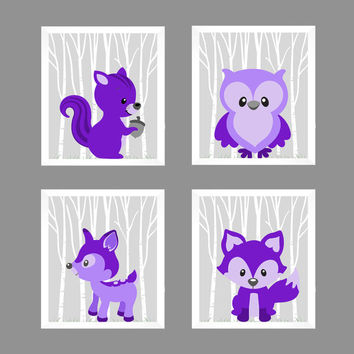 Woodland Animals, CUSTOMIZE COLORS, 8x10 Prints, set of 4, Purple on Gray Owl Fox Deer Squirrel Nursery Decor Print Art Baby Room Baby Girl