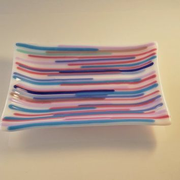 Fused Glass soap dish - candle holder - striped blues pinks purples - ring holder - trinket dish - glass fusion - striped soap holder