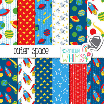 Space Digital Paper - boy digital paper in red & blue - seamless patterns - outer space scrapbook paper - printable paper - commercial use