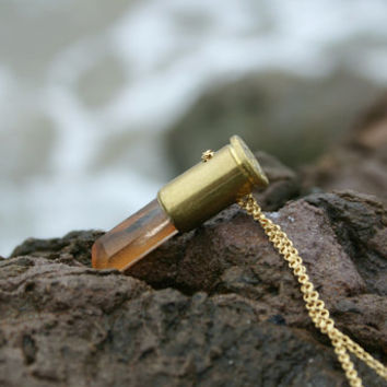 Healing Tangerine Quartz Bullet Necklace by Echoz Crystals