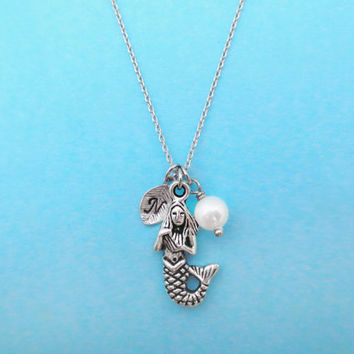 Mermaid, Initial, Pearl, Necklace, Mermaid, Necklace, Ariel, Necklace, Little, Mermaid, Disney, Necklace, Mermaid, Gift, Jewelry