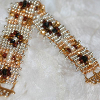 NEW BEADED BRACELET, one of a kind, swarkovski, garnet, Czech fire polished, gold and silver beads,hand loomed,silk thread,gold filled clasp