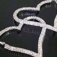 Boutique Collection Oversize Silver Tone Rhinestone Heart Hoop Earrings