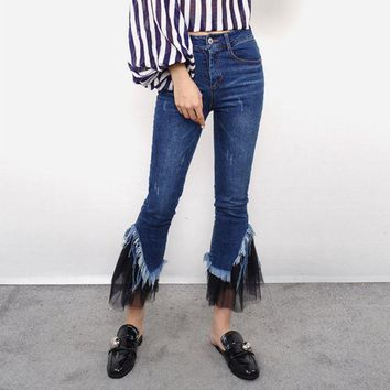 DCCKXT7 All-match Fashion Casual Tassel Gauze Stitching Jeans Flares Pants Trousers