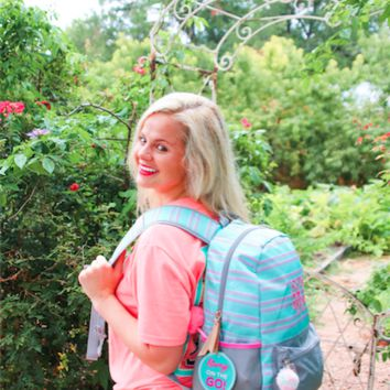 3 Happy Hooligans: Backpack {Mint Stripe}