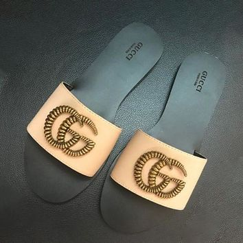 shosouvenir Gucci Woman Men Fashion Slippers Sandals Flat Shoes