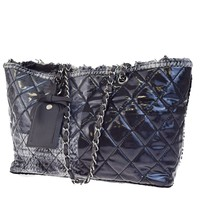 Authentic CHANEL CC Quilted Chain Shoulder Bag Vinyl Tweed Black Gray 17EB893