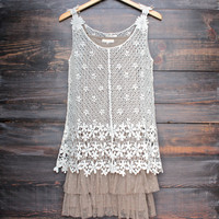 RYU the whimsical side crochet dress with detachable lace slip extender