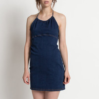 Vintage 90s Dark Wash Denim Halter Mini Dress | M