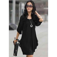 Black Pleated Chiffon Mini Dresses