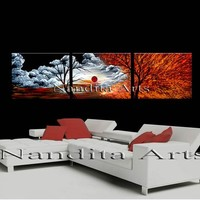 """Landscape Painting Red Original Art 72"""" Acrylic Canvas Art Red Sunset Large Nature Abstract Tree Art Home Decor By Nandita Albright"""
