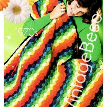Instant Download • PDF Pattern • Easy Rainbow Afghan CROCHET Pattern • Super Fun Shell Stitch • Vintage 70s Boho Home Decor • Blanket Cover