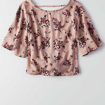 Don't Ask Why Chiffon Tie Back Top , Iced Mocha