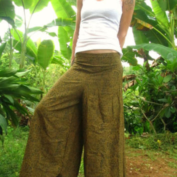 Green Flare Cotton Trousers Aladdin Alibaba Harem Yoga Pants Hippie Travel Indie | eBay