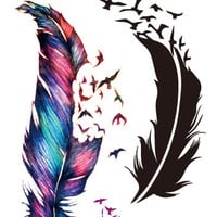 Water Transfer Flash Tattoo Temporary Tattoo Wind Blown Feathers