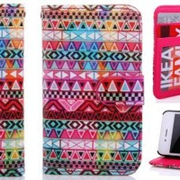 Thinkcase iPhone 4 4S New tribal Design Premium PU Leather Wallet Case With Card Holder for iPhone 4 4s 020# with Thinkcase Stylus Pen