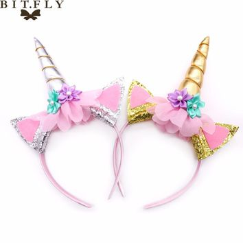 birthday party Princess unicorn  Headband cute pink ears decoration head wear kids Fancy Halloween Cosplay Decorative supplies