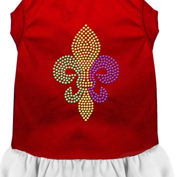 Mardi Gras Fleur De Lis Rhinestone Dress Red with White XS (8)