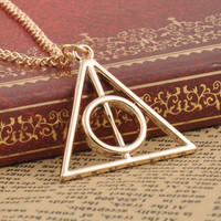 Hot Sale Movie Harry Potter Deathly Hallows Triangle Metal Pendant long Chain Necklace as Gifts