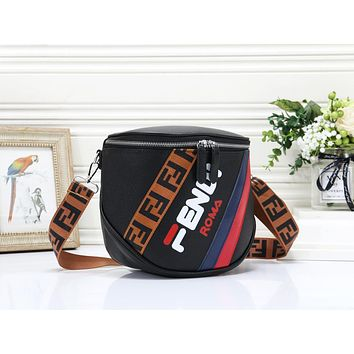 Fendi Fashion New More Letter Leather Shopping Leisure Shoulder Bag Women Black