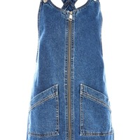 MOTO Zip Front Denim Pinafore Dress | Topshop