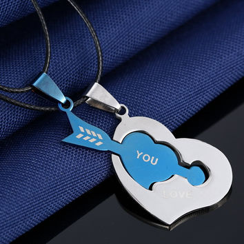 Couples Pendant Necklaces For Love Women Men Black Cord of Leather Stainless Steel Puzzle Blue Arrow Heart Necklace Jewelry