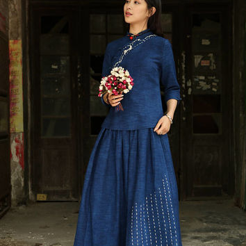 maxi skirt, linen skirt, long skirt, denim blue skirt, Blue skirt, Pleated Skirt,  Full Skirt, flared skirt,pocket skirt, made to order