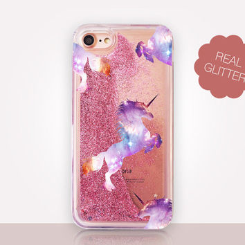 Unicorn Glitter Phone Case - Transparent Case - Clear Case - Transparent iPhone 7 - Clear iPhone 7 Plus - Gel Case - iPhone 6/6S