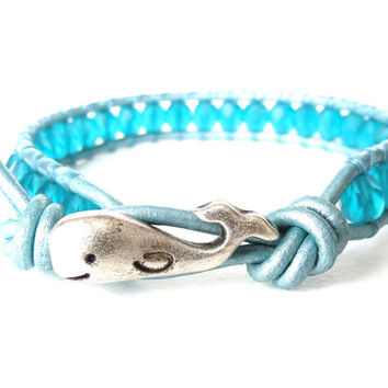 Turquoise whale bracelet for children, teal / turquoise on metallic light blue leather, hipster bracelet for kids