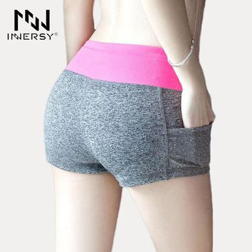 LMFON3R Innersy New Women Sport Running Shorts Fitness Gym Short Pants Workout Elastic Sports Female  calzas deportivas mujer Jzh75