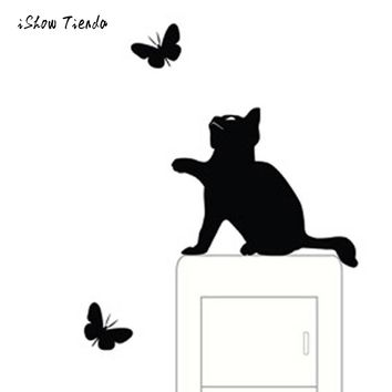 2018 New Design Simple And Stylish Cat Decal Room Window Wall Decorating Switch Vinyl Decal Sticker Decor Cartoon Animal Hot