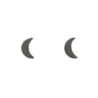 Black Crescent Moon Studs