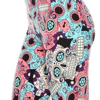 Sugar Skull Leggings Plus Size