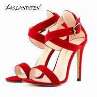 LOSLANDIFEN Free Shipping Ladies Peep Toe Sexy Wedding Faux Velvet High Heels Shoes Sandals US women pumps Size 4-11 102-4VE