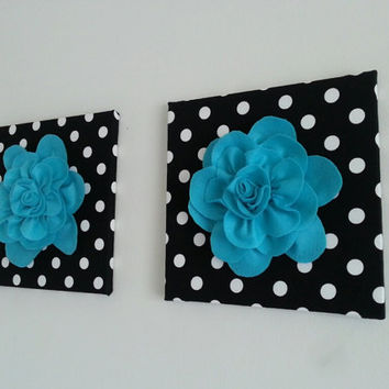 Two Felt Wall Flowers, 12x12 Canvas Set, Flower Canvas, Polka Dots, Nursery Decor.