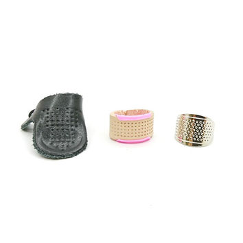 Handcraft Sewing Leather Metal Thimble Set Free Size Pink Blue for Short and Long Needles