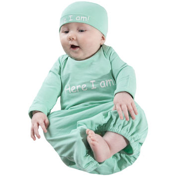 Eden ~ Here I Am Baby Receiving Gown and Hat ~ Mint Green