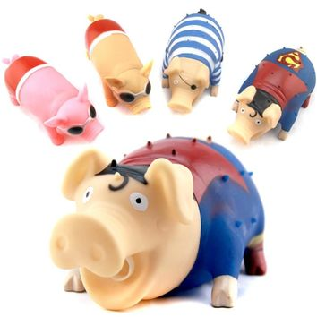 21cm Big Size Cartoon Screaming Pig Squeeze Press Then Pig Sound Rubber Toy Funny Spoof Relieve Work Stress Toys For Children
