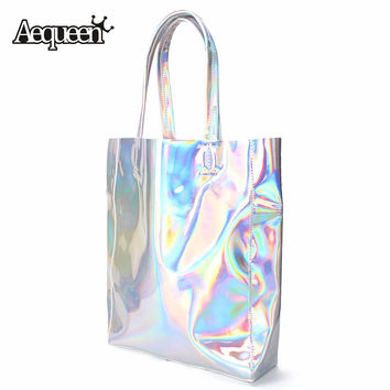 Women Handbag Laser Hologram Leather Shoulder Bag Brand New Lady Single Shopping Bags Large Capacity Casual Tote Bolsa Silver