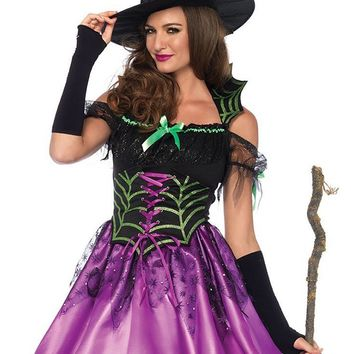 In My Spider Web Black Purple Satin Lace Short Sleeve Cold Shoulder Lace Up High Low Flare Mini Dress Halloween Costume