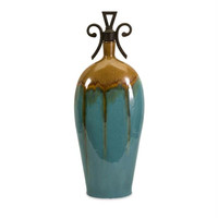 Stoppered Vase - Turquoise And Brown