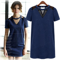 Blue Cutout Short-Sleeve Mini Dress