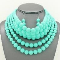 "14"" turquoise 6 layered choker collar bib necklace 1"" earrings basketball wives"